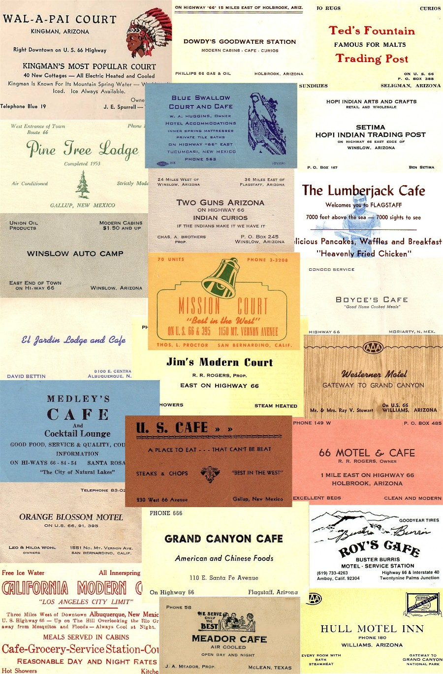 Other route 66 paper collage of business cards colourmoves